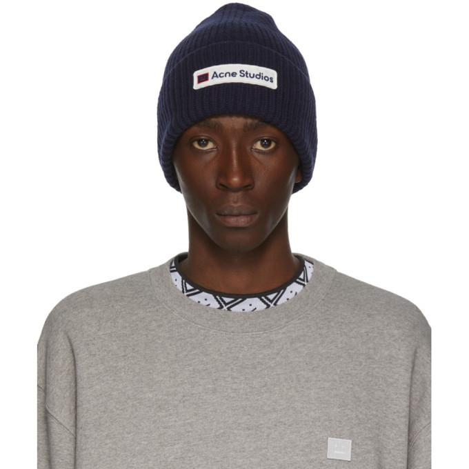 Acne Studios 海军蓝徽标贴饰毛线帽