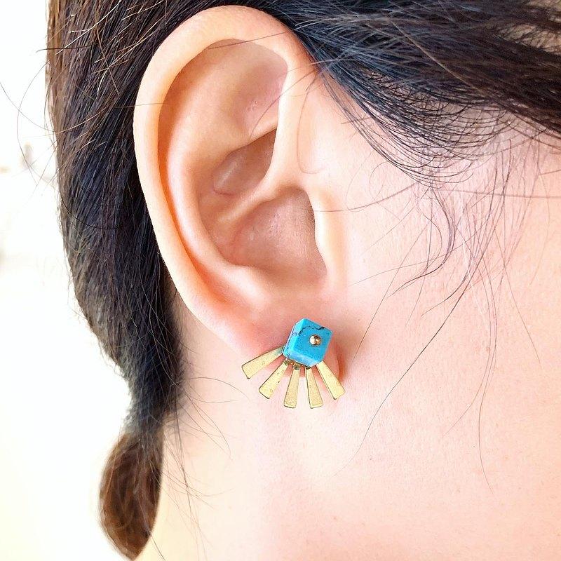 夏日限量款_正方形礦石黃銅光茫貼式銅耳環_可免費修改夾式耳環