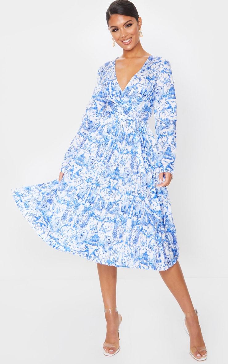 Blue Porcelain Print Long Sleeve Pleated Midi Dress