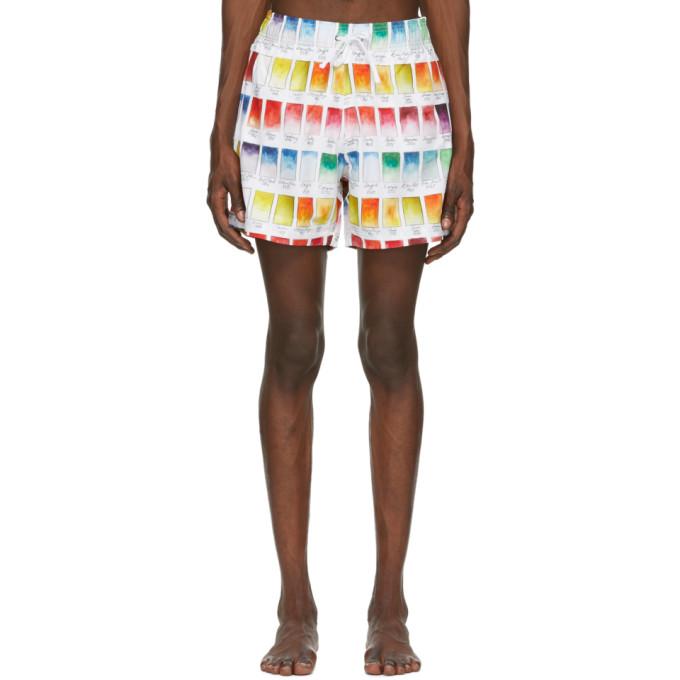 Amiri 白色 Watercolor Swatch 泳裤
