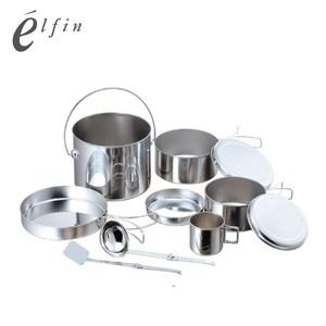 【日本高桑elfin】不鏽鋼鍋碗杯盤萬用豪華8件組(附煎匙&湯杓)