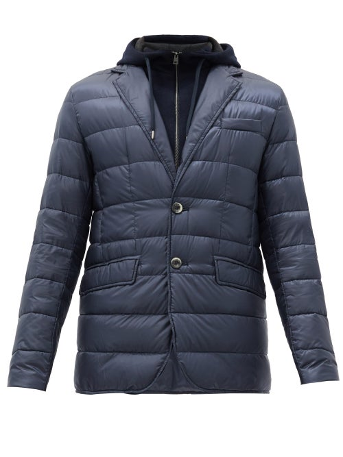 Herno - Hooded Quilted Down Jacket - Mens - Blue