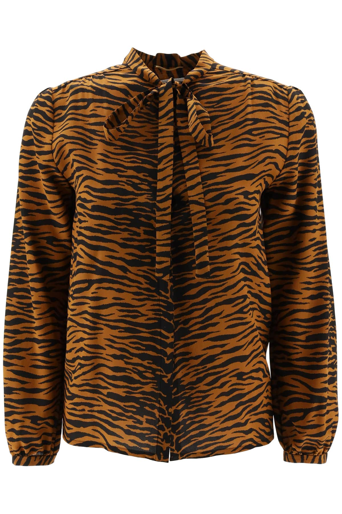SAINT LAURENT TIGER PRINT SHIRT 36 Brown, Black Silk