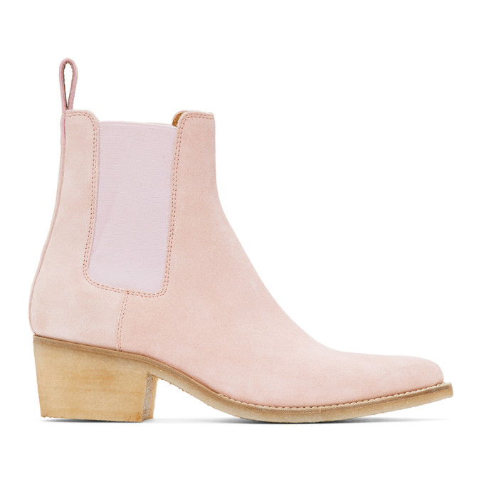 Amiri 粉色尖头绒面革切尔西靴