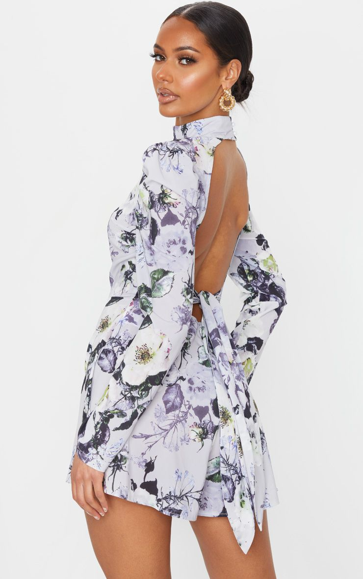 Grey Floral Print Backless Tie Back Playsuit