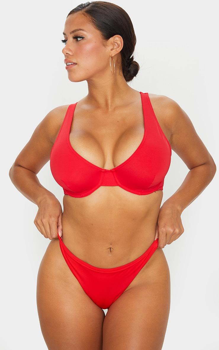 Red Fuller Bust Underwired Bikini Top