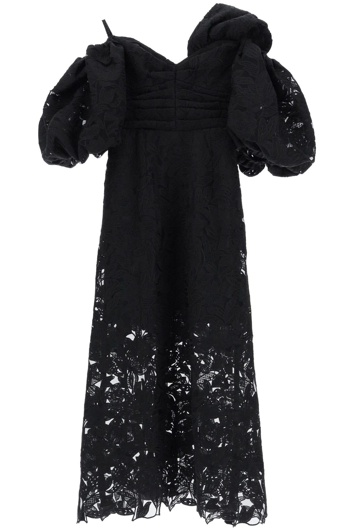 SELF PORTRAIT MIDI LACE DRESS 8 Black