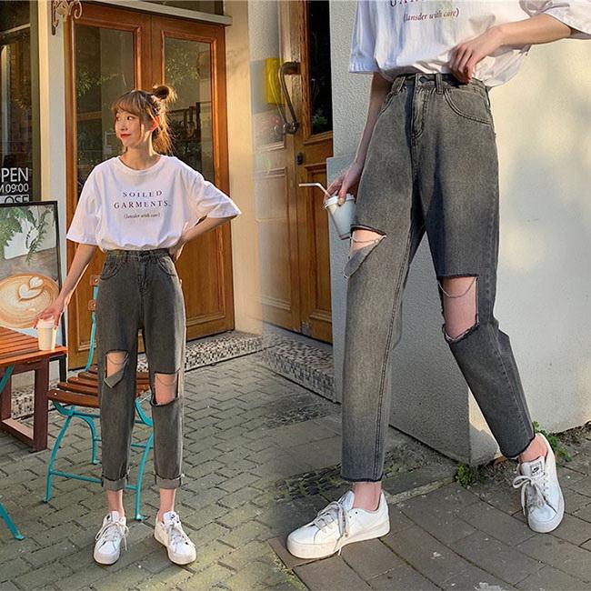FOFU-牛仔褲大破洞潮流寬鬆修身牛仔褲長褲【08G-G1617】