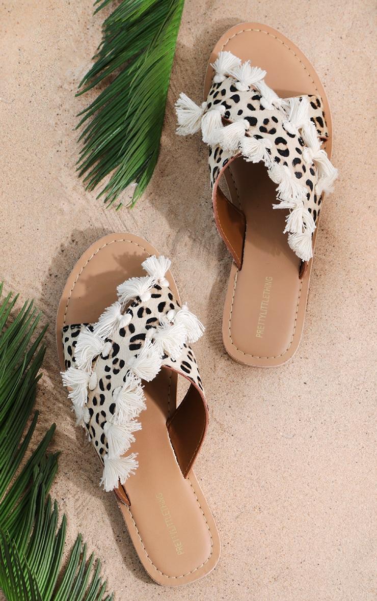 Leopard Cross Strap Tassle Mule Sandal
