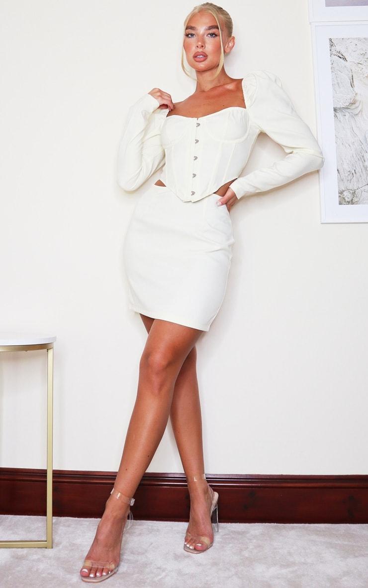Cream Woven Mini Skirt