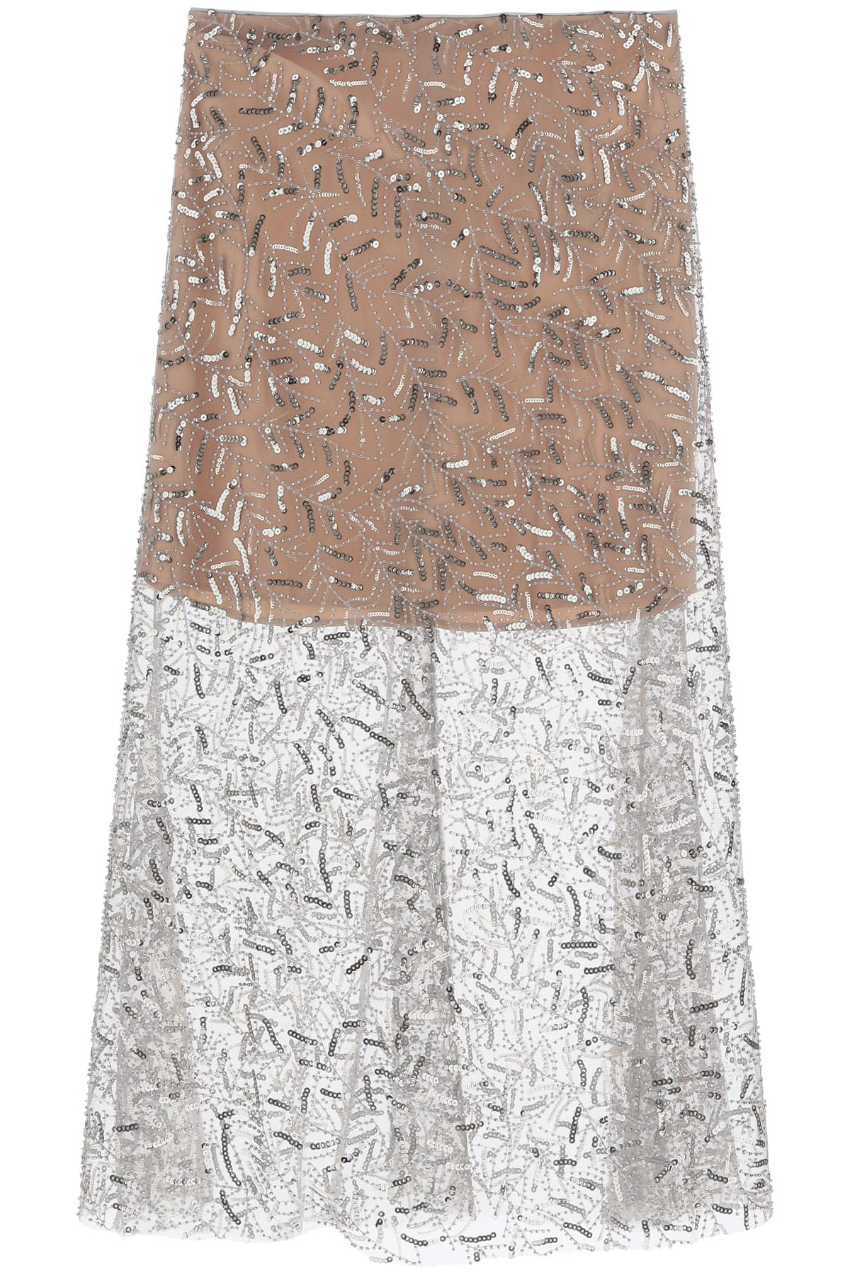 SELF PORTRAIT SEQUINED TULLE MIDI SKIRT 10 Beige, Yellow, Silver