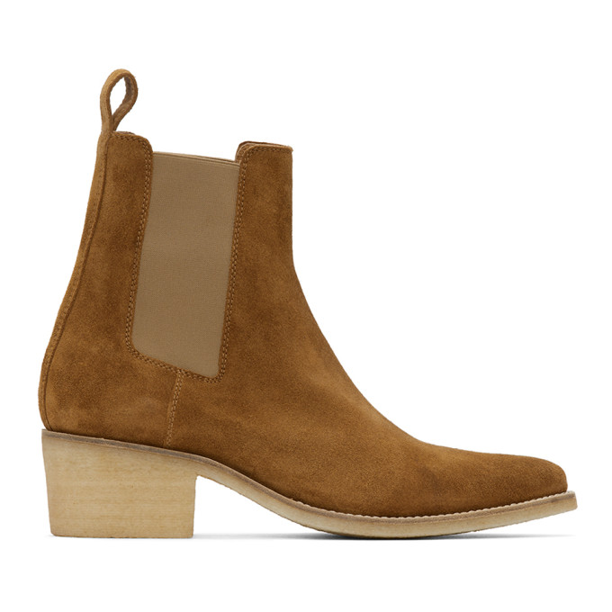Amiri 棕色尖头绒面革切尔西靴