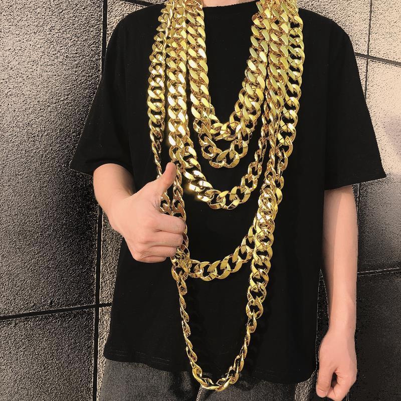 大金鍊子道具 男粗社會人誇張嘻哈土豪塑料假金鍊子 特粗大的金項鍊