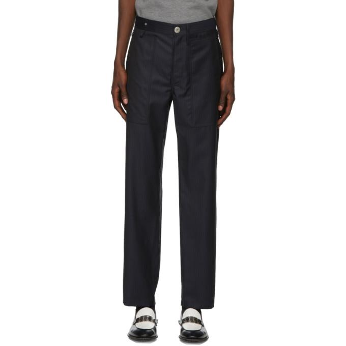 Lanvin 海军蓝细条纹羊毛长裤