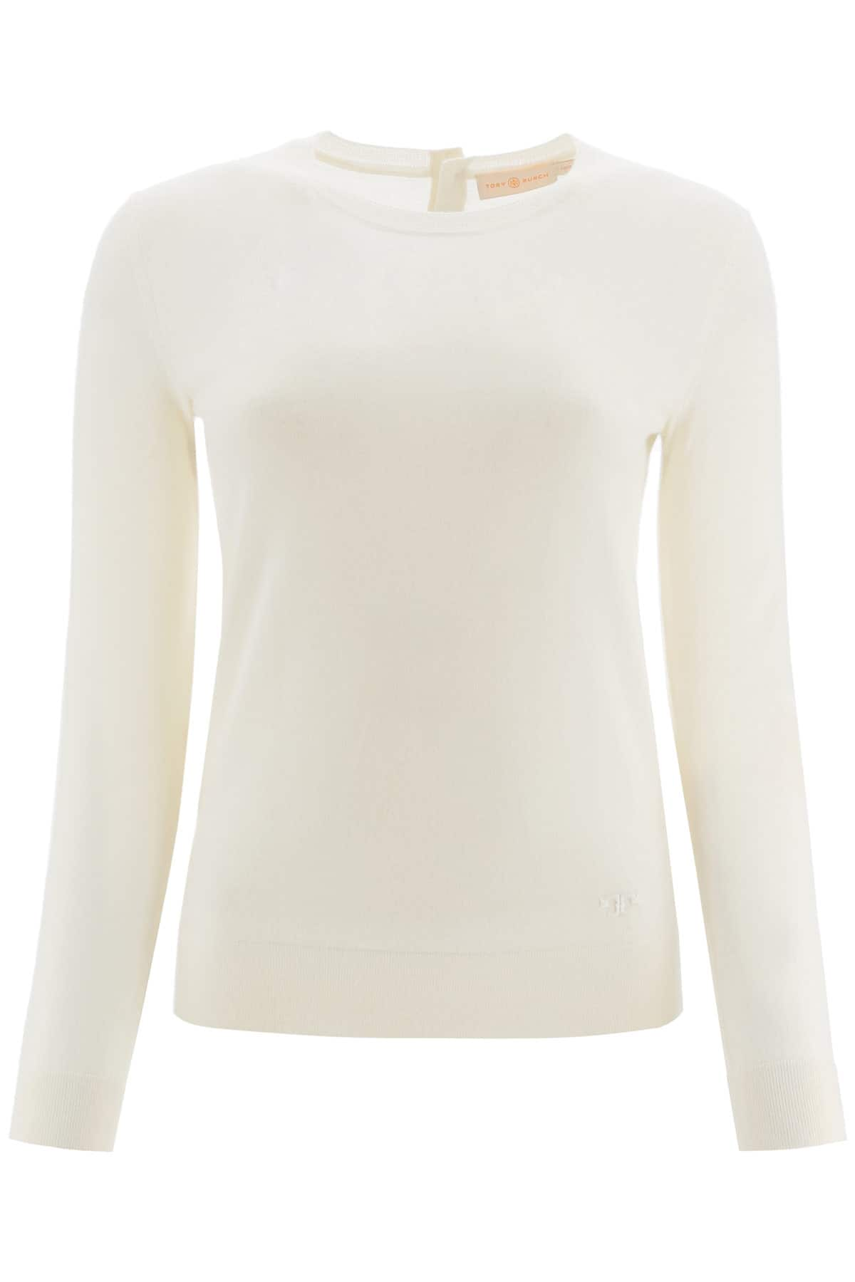 TORY BURCH CASHMERE SWEATER WITH LOGO BUTTONS S White Cashmere