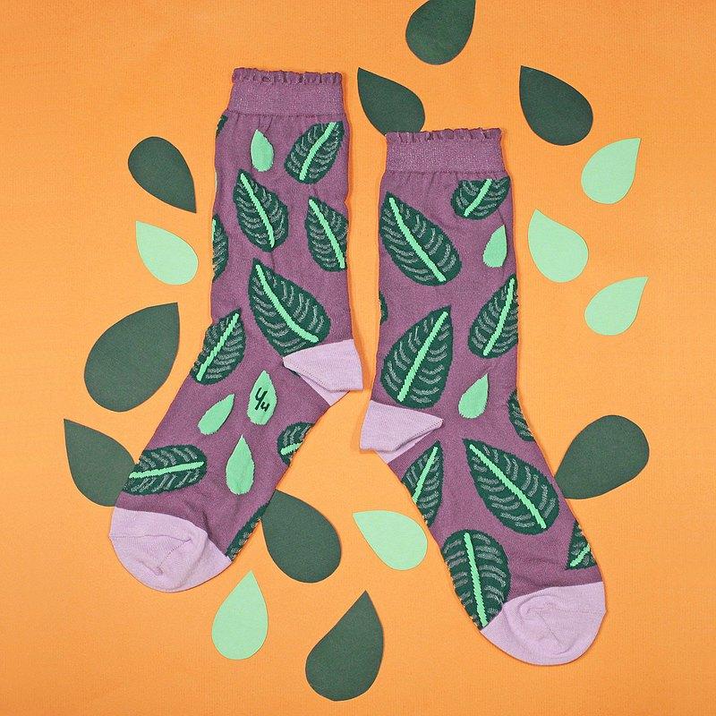 雙線竹芋 尼龍中筒襪 - 襪子 -  藕紫