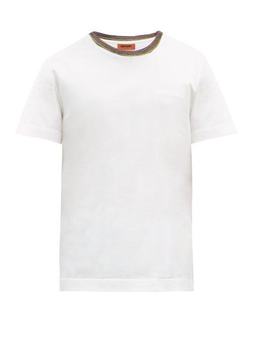 Missoni - Striped-neck Logo-print Cotton-jersey T-shirt - Mens - White