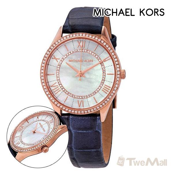 MICHAEL KORS MK 真皮錶帶 鑽錶 女錶/手錶/腕錶(深藍)