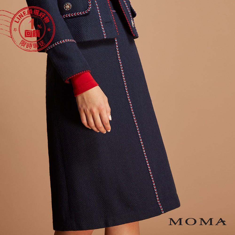 MOMA(92S033)彩繡毛織過膝裙