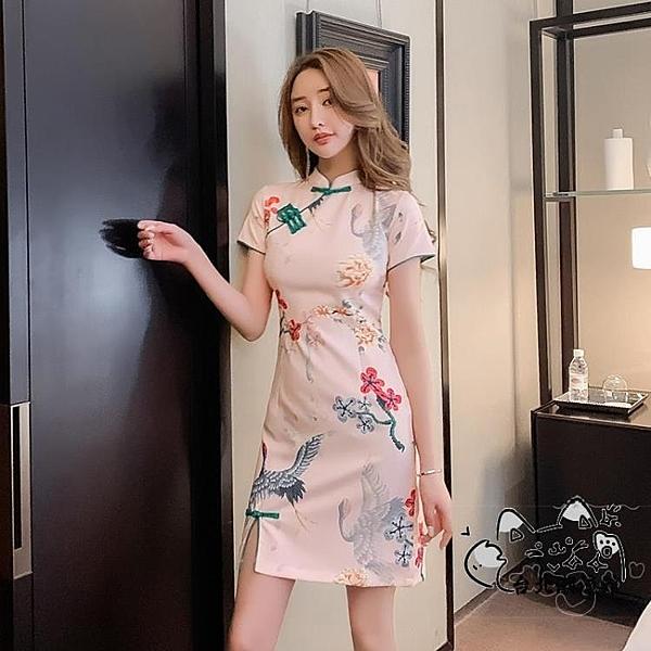 改良式旗袍 2020夏季新款中國風復古印花修身氣質顯瘦旗袍連身裙中式年輕短裙 VK146