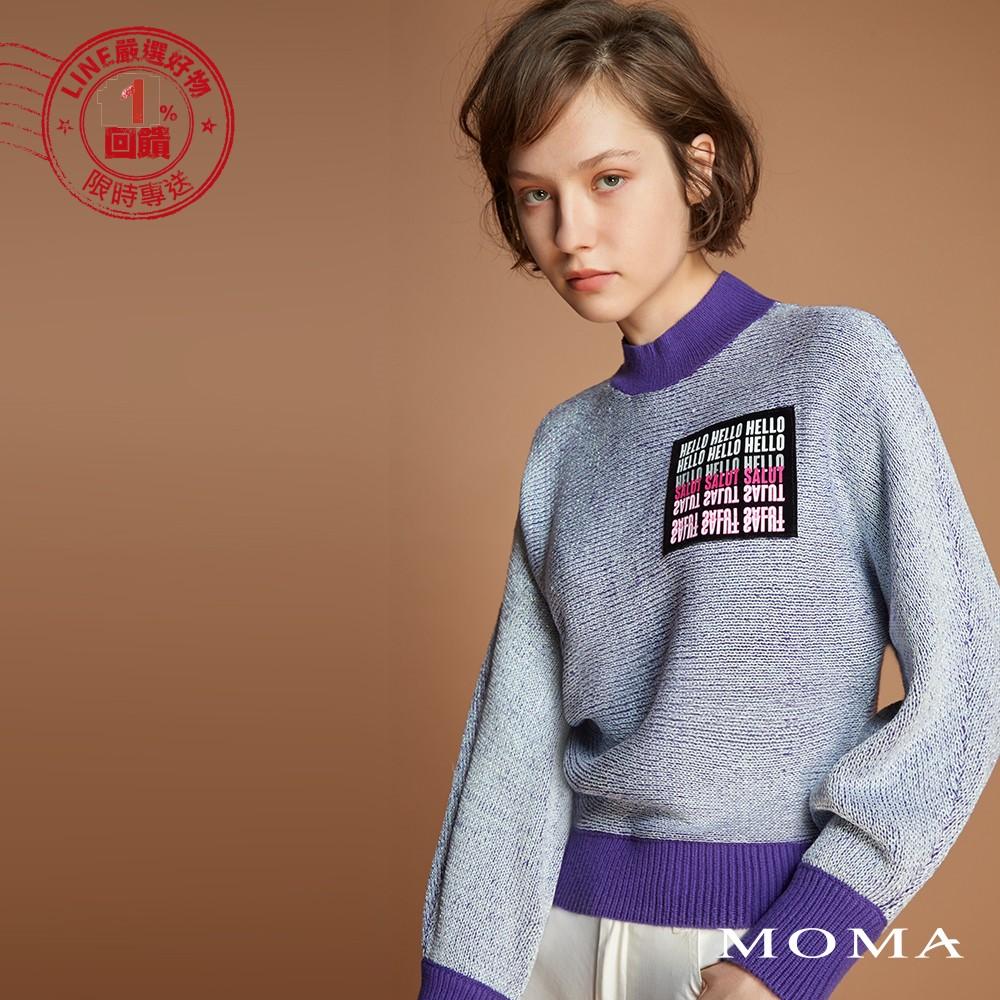 MOMA(92KM57)英文字亮蔥毛衣