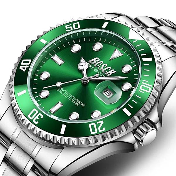 男士手錶綠水鬼新款手錶男士潮鋼帶夜光防水學生運動潛水黑水怪 JUST M