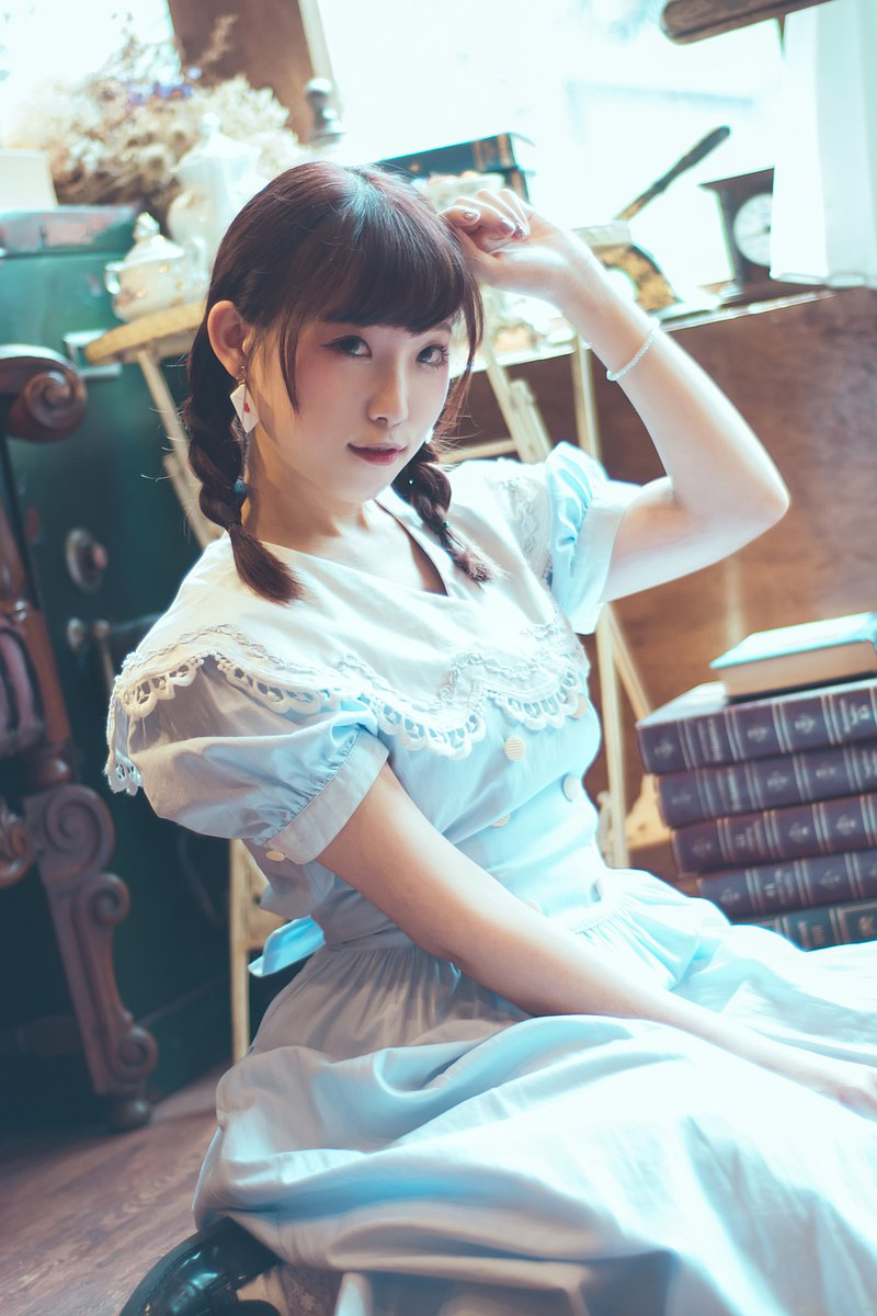 料質Fabric 海軍風日系淺藍大翻領古著洋裝