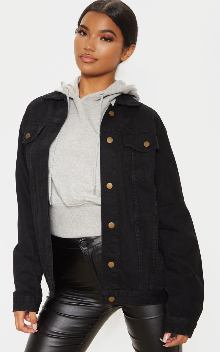 Black Oversized Boyfriend Denim Jacket