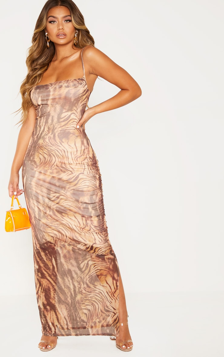 Brown Printed Mesh Ruched Maxi Dress