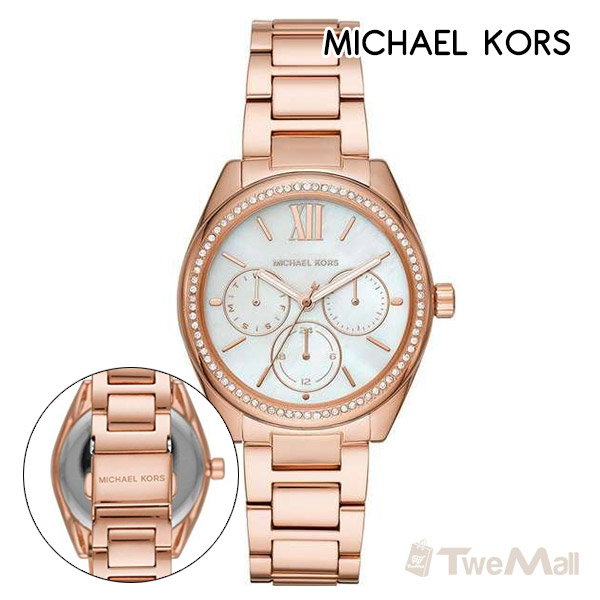 MICHAEL KORS MK 鋼錶帶 三眼 女錶/手錶/腕錶(玫瑰金)