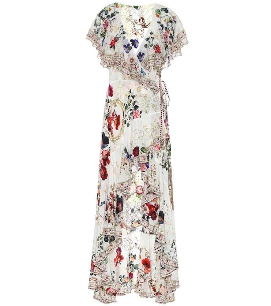 Embellished floral silk wrap dress