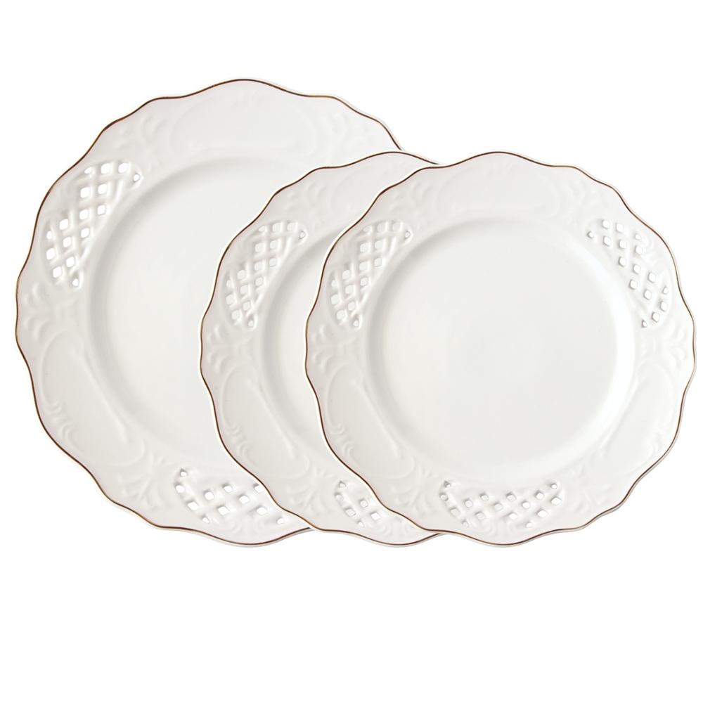 Just Home 莎莉蕾絲浮雕新骨瓷餐盤3件組 25.5+20cm