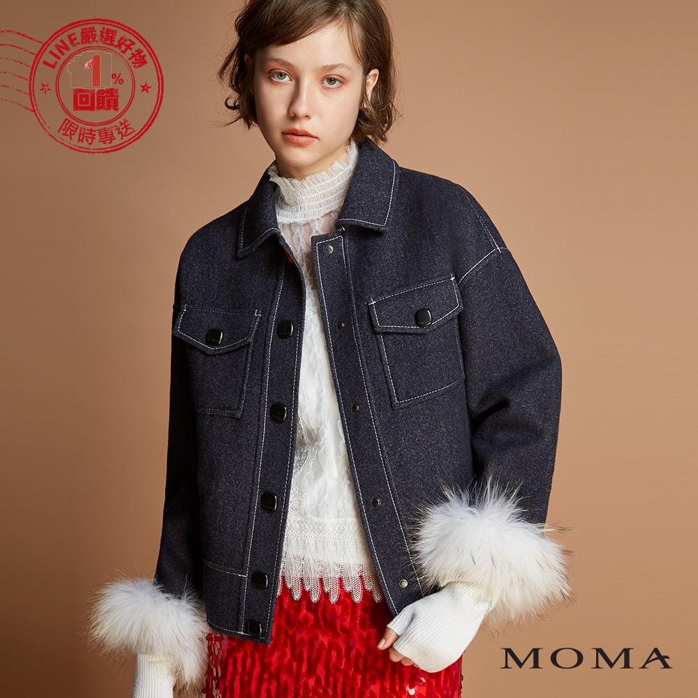 MOMA(92J028)明線落肩雙面毛料外套