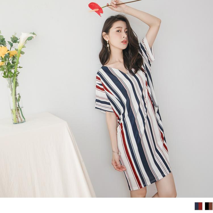 修身條紋配色V領長版短袖上衣/洋裝