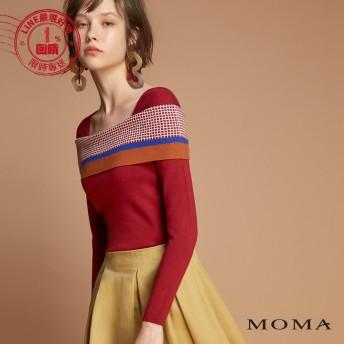 MOMA(92KM39)一字領幾何針織上衣