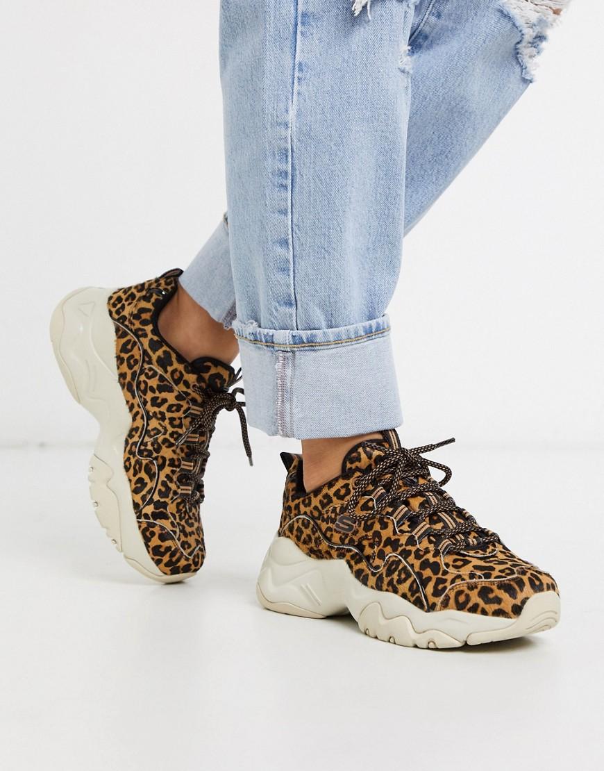 Skechers D'Lites 3.0 chunky trainers in leopard-Multi