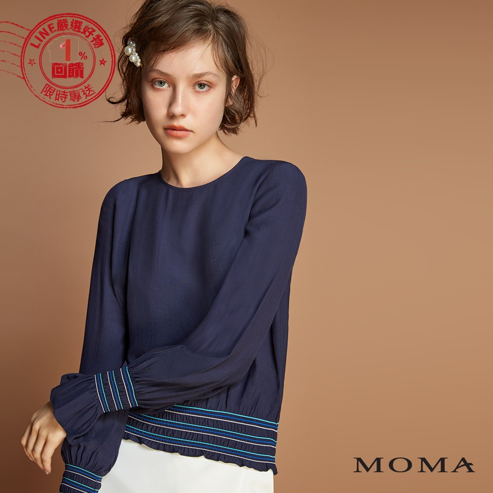 MOMA(92G073)彩線縮口平織上衣