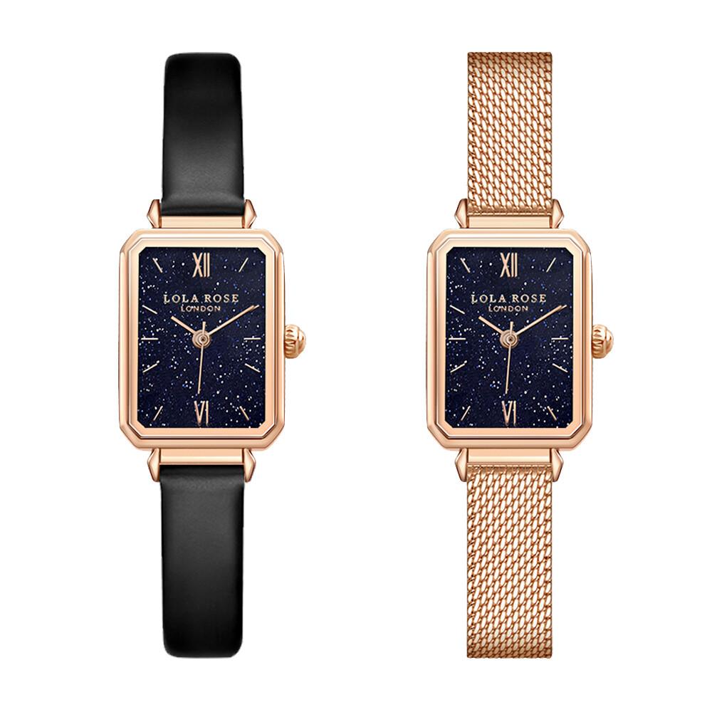 lola rose 閃耀星空方形手錶(方形 星空-黑皮/米蘭)