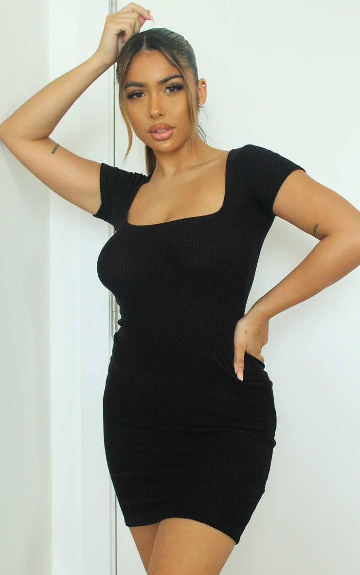 Black Square Neck Brushed Rib Bodycon Dress