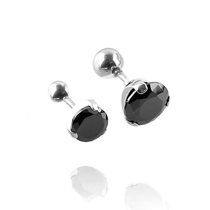 316l醫療鋼 銀底單黑鑽黑瑪瑙 旋轉式耳環-6mm8mm 防抗過敏 單支販售 - 8 mm