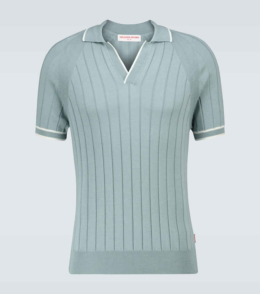 Deco silk ribbed knit polo shirt