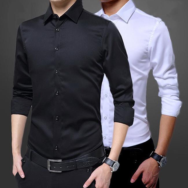 FOFU-長袖襯衫韓版百搭帥氣正裝職業修身純色長袖襯衫【09C0134】