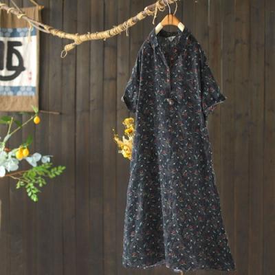 復古苧麻印花時尚氣質寬鬆顯瘦洋裝-設計所在