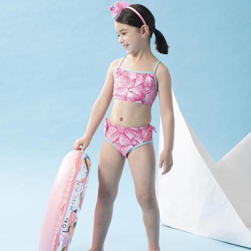 【SAIN SOU】女童兩截式泳裝附泳帽A822016