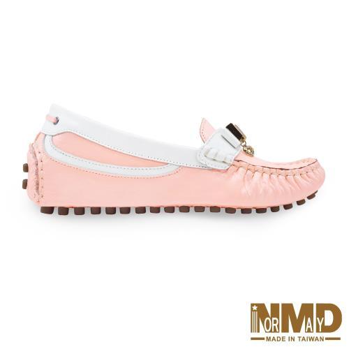 Normady 諾曼地 輕甜粉漾撞色磁力內增高羊皮休閒豆豆鞋 MIT手工鞋 珠光粉 LV6002-P1