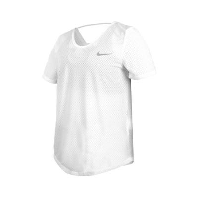 NIKE 女短袖T恤-DRI-FIT 慢跑 路跑 訓練 透氣 健身 運動 網眼 上衣 CJ2569-100 米白銀