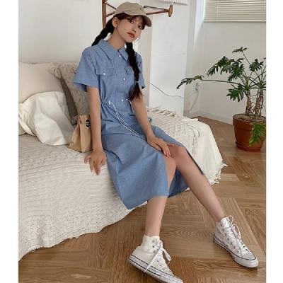連身裙 繫帶開叉牛仔短袖洋裝RU8002-創翊韓都