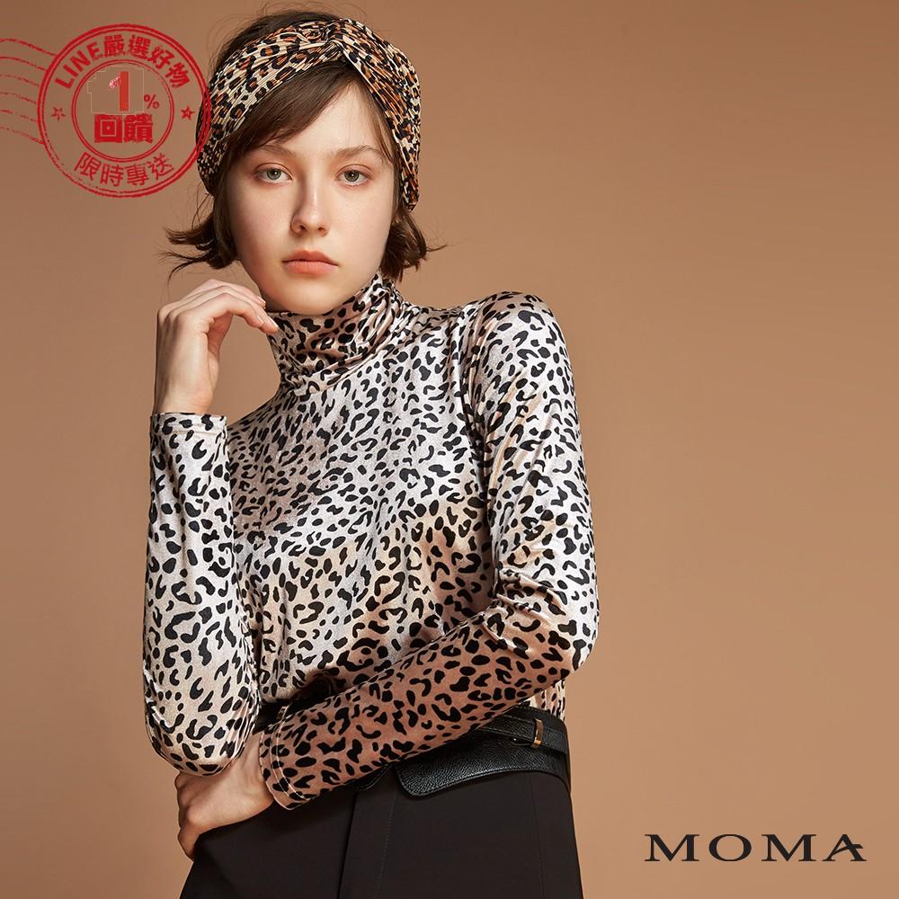 MOMA(92M035)豹紋絨布高領上衣