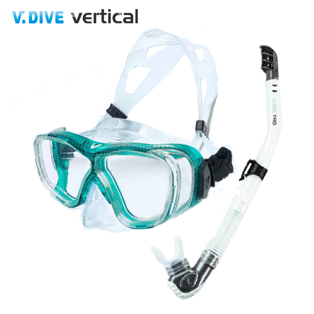 V.DIVE Combo 威帶夫潛水精品組-TC401TG 菱格紋藍綠