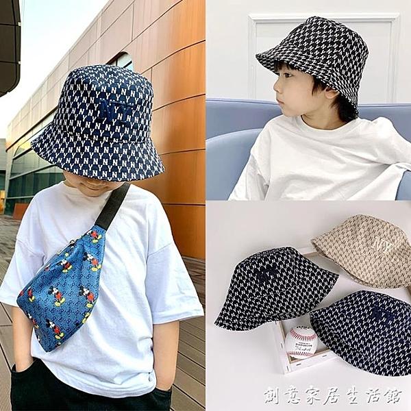 春夏兒童漁夫帽可掛防風繩男童中小童遮陽帽子大童女童防曬盆帽潮